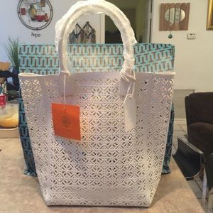 HOST PICK Tory Burch White Patent Perforated Tote